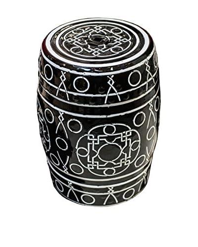 Winward Ceramic Garden Stool, Black/White