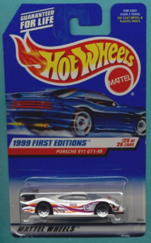 mattel hot wheels 1999 first editions 1 64 scale white porsche 911 gt1 98 25. Black Bedroom Furniture Sets. Home Design Ideas
