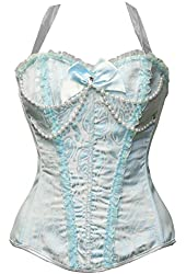 BSLINGERIE® Womens Floral & Black Lace Trim Satin Boned Corset