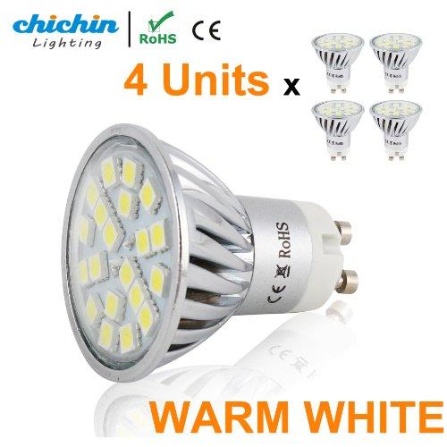 Chichinlighting® 4P Warm White Led Gu10 Bulb Pack 4 Watts Super Bright Spot Light Wide Angle Gu10 Flood Lamp