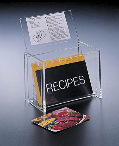 Acrylic-Lucite-Recipe-Box-Holder-with-Lid-display-Box-and-Recipe-Cards-5-x-3