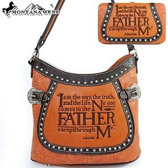 Handbag Western Shoulder Purse with Wallet in Camel Brown: Clothing