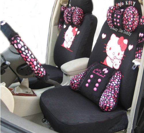 EMS Shipping 10pcs Kitty Pattern Auto Car Seat Cover Accessories Kit (Model: Zj000148)