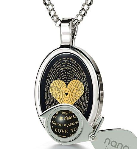 Collana Love in oro bianco 14K con scritta I Love You oro 24K in 120 lingue su ciondolo in onice e catenina il oro laminato da 45 cm