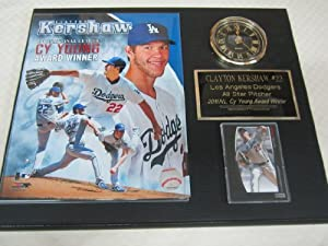 Clayton Kershaw Los Angeles Dodgers Collectors Clock Plaque w 8x10 Photo and Card by J & C Baseball Clubhouse