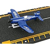 Hot Wings F4U Corsair with Connectible Runway Die Cast Plane Model Airplane, Blue (Color: Blue)