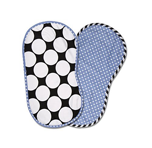 Bacati 2 Piece Dots/Pin Stripes with Blue Pin Dots Burpies Set, Black/White - 1