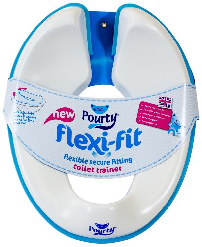 Pourty Flexi-Fit Toilet Trainer, White/Blue
