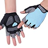 HuwaiH Cycling Gloves Men's/Women's Mountain Bike Gloves Half Finger Biking Gloves | Anti-slip Shock-absorbing Gel Pad Breathable Cycle Gloves (Sky Blue, Small)