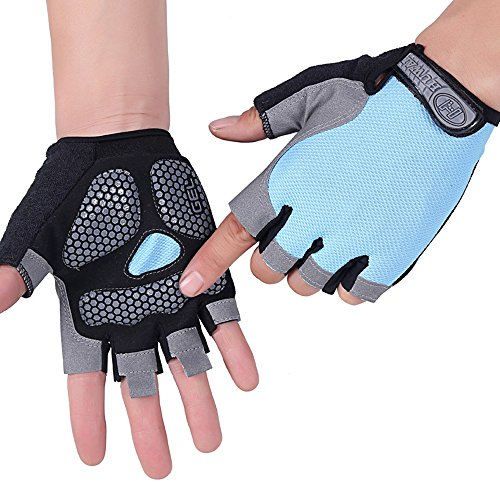 HuwaiH Cycling Gloves Men's/Women's Mountain Bike Gloves Half Finger Biking Gloves | Anti-slip Shock-absorbing Gel Pad Breathable Cycle Gloves (Sky Blue, Small) (Girls Cycling Jersey compare prices)