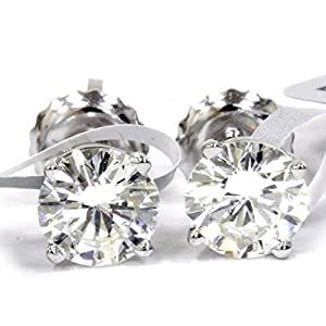 IGI Certified 14K White Gold Round Brilliant Diamond Screw Back Stud Earrings (1 cttw, F-G Color, I1 Clarity)