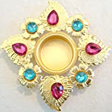 Store Utsav Tealight Holder Brass Blue And Pink Crystal Beads