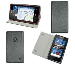 Etui luxe Nokia Lumia 520 Ultra Slim Cuir Style avec stand - Housse coque de protection Nokia Lumia 520 noire/black - Prix découverte accessoires pochette XEPTIO : Exceptional case !