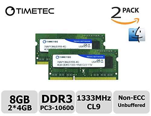 Timetec Team 8GB Kit (2x4GB) DDR3 (PC3-10600) 1333MHz Non-ECC, Unbuffered, CL9, 1Rx8, 1.5V, SODIMM, 204-pin Single Rank Laptop/Notebook Memory Module Upgrade (Mac Memory Module compare prices)