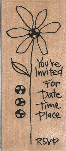 Doodle Daisy Invite Wood Mounted Rubber Stamp (N168)