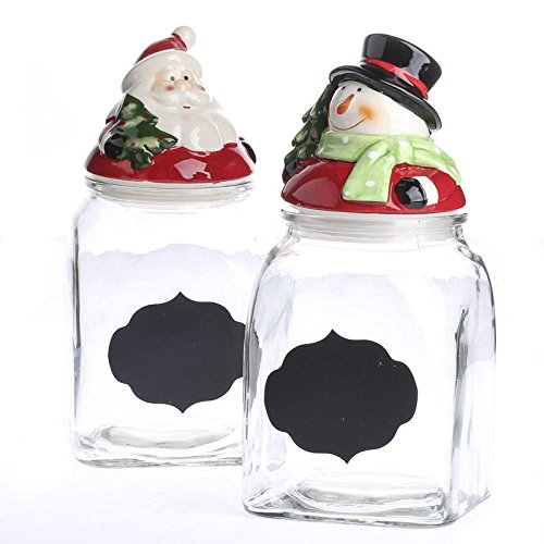 Factory Direct Craft Pair of Glazed Ceramic Topped Santa and Snowman Clear Glass Jars with Chalkboard Labels (Christmas Glass Jars compare prices)