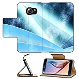 Luxlady Premium Samsung Galaxy S6 Flip Pu Leather Wallet Case Digital abstract shapes glowing in blue tones IMAGE 19863052