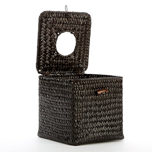 Decorative Woven Black Seagrass Refillable Facial Tissue Napkin Holder Box W Hinged Top Lid