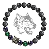 Karseer Wolf Head Charm Energy Stone Stretch Bracelet with Black Natural Onyx, Lava, Blue Sandstone and Green Agate Beaded, Antique Silver Wild Animal Friendship Bangle Jewelry Gift, 7
