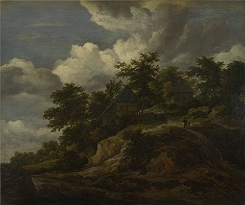 High Quality Polyster Canvas ,the Vivid Art Decorative Canvas Prints Of Oil Painting 'Jacob Van Ruisdael A Rocky Hill With Three Cottages A Stream At Its Foot ', 24 X 29 Inch / 61 X 73 Cm Is Best For Gift For Relatives And Home Artwork And Gifts