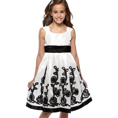 Size-7 Bnj-5242X Ivory Black Soutache Border Taffeta Special Occasion Flower Girl Holiday Pageant Party Dress,X45242 Bonnie Jean Tween Girls front-949213