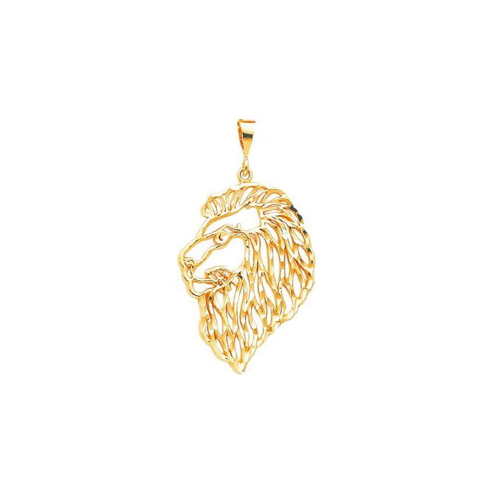 10K Yellow Gold Lion Head Charm Diamond Cut