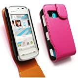 EMARTBUY NOKIA 5230 PREMIUM PU LEATHER FLIP CASE/COVER/POUCH HOT PINK/TAN