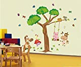 UberLyfe Tree with Cartoon Animals, Birds, Butterfly Wall Sticker (Wall Covering Area: 175cm x 155cm)
