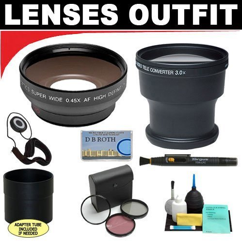 3X Digital Telephoto Professional Series Lens + 0.5X Digital Wide Angle Macro Professional Series Lens + 3 Piece Digital Camera Filter Kit + 6-Piece Deluxe Cleaning Kit + Lens Adapter Tube (If Needed) + Lenspen + Lens Cap Keeper + Db Roth Micro Fiber Clot