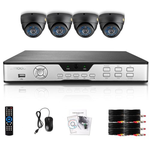 Zmodo Indoor Complete Security Camera System 4 CH H 264 D1 DVR with 4  Weatherproof 600TVL Night Vision High Resolution Surveillance Cameras with  500GB