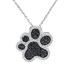 Sterling Silver Black and Clear Cubic Zirconia Dog Paw Pendant Necklace, 18