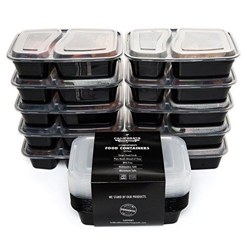 [10-Confezione di 2 scomparti Contenitori impilabili per alimenti, con coperchio, da microonde, lavabili in lavastoviglie e riutilizzabili per il pranzo/Bento Box pasto con piatti divisori per preparazione di California Home Goods