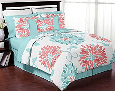 Turquoise and Coral Emma 3 Piece Childrens, Teen, Kids Modern Full / Queen Bedding Set Collection