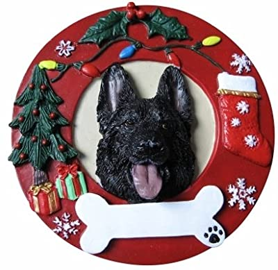 German Shepherd Christmas Ornament Black Wreath Shaped Easily Personalized Holiday Decoration Unique German Shepherd Lover Gifts