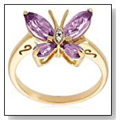 Amethyst and Diamond Accent Butterfly Ring