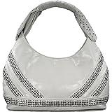 Blue Elegance Studded Handle Hobo Handbag (White)