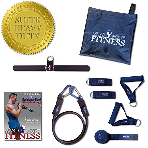 Mind Body Fitness Resistance Band Accessory Kit / Expansion Pack - 9pc Home Gym (Heavy Duty Black Band w/ Premium Clips, Exercise Bar, Handles, Ankle Straps, Door Anchor, Carry Bag + FREE eBook) (Handles For Door Bar Gym compare prices)