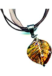 Lampwork Glass Leaf Pendant Necklace on Brown Organza Ribbon 17 to 18 Inches Topaz