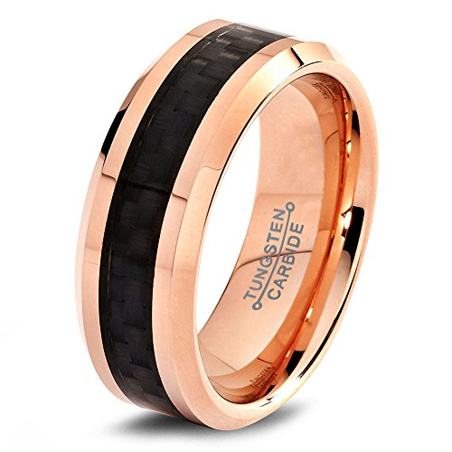 Couples wedding bands tungsten wedding band ring 8mm for Custom made wedding bands to fit engagement ring