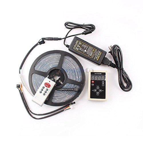 elcPark 16.4ft 5m RGB Dream- Color Flex LED Rope Light 6803 IC SMD5050 Waterproof IP67 150LED DC 12V 133 Color Change +RF Controller + 5A Power Supply (Black PCB)