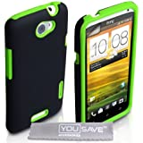 Yousave Accessories HTC One X Case Dual Combo Silicone Cover Black / Green With Screen Protector