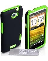 Yousave Accessories Pack de Coque en silicone + Protection d'écran pour HTC One X Vert/Noir