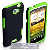 HTC One X Case Dual Combo Silicone Cover Black / Green With Screen Protectorby Yousave Accessories
