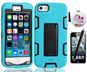 XYUN TM Armor Shell Robot Series Hybrid Combo Case with Kickstand Protective Case for Apple iPhone 5 5G 5S (not fit iPhone 5C) with free a XYUN Mobile Phone Cleaner Dust Plug Gift , a Front Screen Protector and a Long Stylus - Black / Blue kickstand from