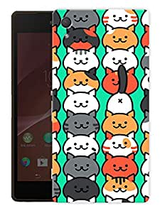 """Cute Cats PatternPrinted Designer Mobile Back Cover For """"Sony Xperia Z3"""" (3D, Matte, Premium Quality Snap On Case)"""
