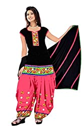 Govardhan Fashion Black and pink colour cottan Unstitched Dress Material