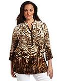 Jones New York Women's Plus-Size 3/4 Sleeve Drop Waist D-String Tunic Top