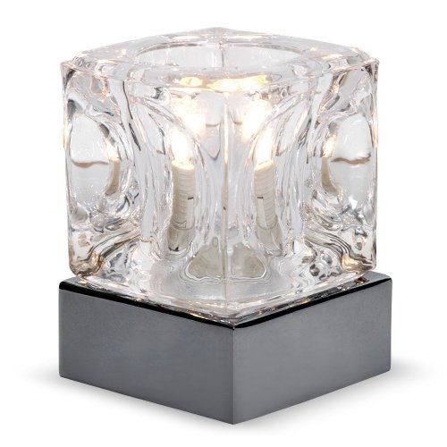 Modern Glass Ice Cube Touch Table Lamp with Black Chrome Base
