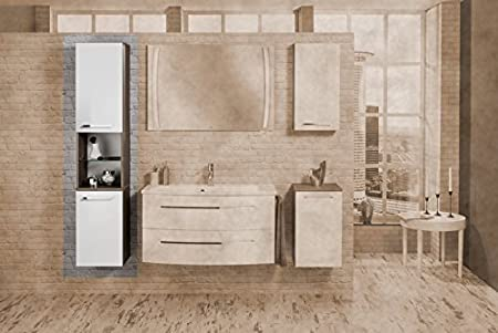 Fackelmann Rondo Tall Cupboard/Left, Cognac Oak/High Gloss White Bathroom Furniture