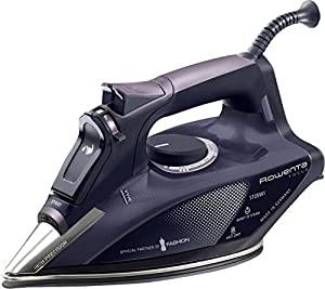 Rowenta DW5197 Focus Steam Iron with 400-Hole Stainless Steel Soleplate, 1725-Watt, Purple
